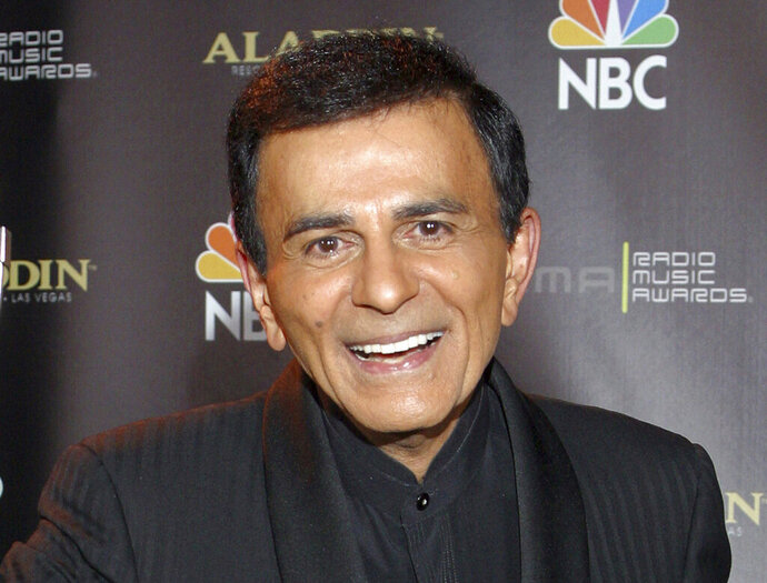 "FILE - In this Oct. 27, 2003, file photo, Casey Kasem poses for photographers after receiving the Radio Icon award during The 2003 Radio Music Awards at the Aladdin Resort and Casino in Las Vegas. Family members of radio personality Casey Kasem have settled a lawsuit against his widow that alleged her neglect and physical abuse led to his death in 2014. The two sides filed a joint request to have the case and a counter-suit, part of a legal battle over the late life and death of the longtime ""American Top 40"
