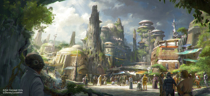 This rendering released by Disney and Lucasfilm shows the planned Black Spire Outpost, a village on the planet of Batuu that will be part of a 14-acre expansion project called Star Wars: Galaxy's Edge, set to open this summer at the Disneyland Resort in Anaheim, California, then in the fall at Disney's Hollywood Studios in Orlando, Florida. The lands will include two signature attractions: Millennium Falcon: Smugglers Run and Star Wars: Rise of the Resistance. (Disney Parks/Lucasfilm via AP)