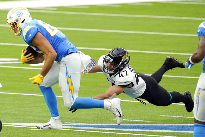 Los Angeles Chargers tight end Hunter Henry, left, is tackled by Jacksonville Jaguars middle linebacker Joe Schobert (47) during the first half of an NFL football game Sunday, Oct. 25, 2020, in Inglewood, Calif. (AP Photo/Alex Gallardo )