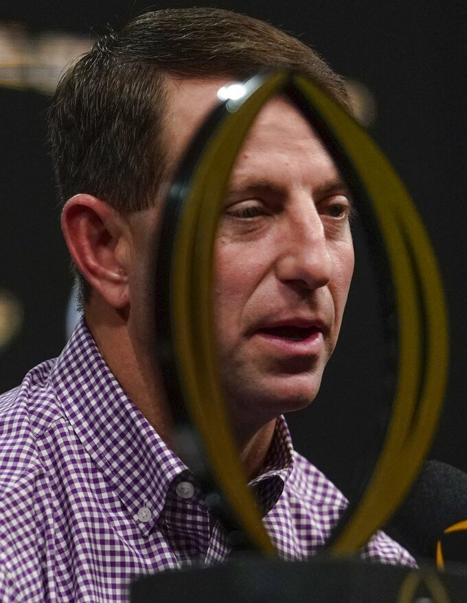 Clemson head coach Dabo Swinney answers questions at a news conference for the NCAA college football playoff championship game Tuesday, Jan. 8, 2019, in San Jose, Calif. (AP Photo/Morry Gash)