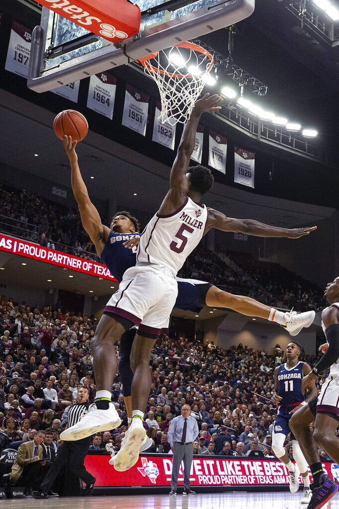 Gonzaga guard Admon Gilder (1) shoots as Texas A&M forward Emanuel Miller (5) defends during the first half of an NCAA college basketball game Friday, Nov. 15, 2019, in College Station, Texas. (AP Photo/Sam Craft)