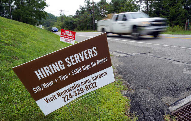 FILE - In this Wednesday, Sept. 2, 2020, file photo help wanted signs for servers and cooks at Nemacolin Woodlands Resort and Spa are displayed along route 40 at the entrance to the resort in Farmington, Pa. U.S. employers advertised more jobs but hired fewer workers in July, sending mixed signals about a job market in the wake of the coronavirus outbreak. The Labor Department said Wednesday, Sept. 9, 2020, that the number of U.S. job postings on the last day of July rose to 6.6 million from 6 million at the end of June. (AP Photo/Gene J. Puskar, File)