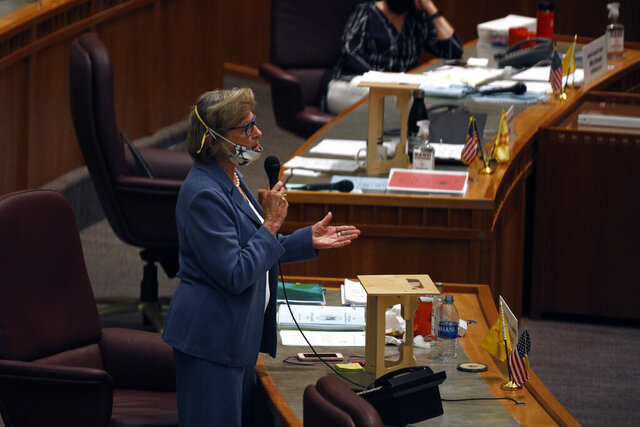 Democratic State Sen. Mary Kay Papen, of Doña Ana County, speaks during a meeting of the state Senate Saturday, June 20, 2020, in Santa Fe, N.M.  State legislators convened for a special session to redo the budget following the economic fallout from the COVID-19 pandemic. (AP Photo/Cedar Attanasio)