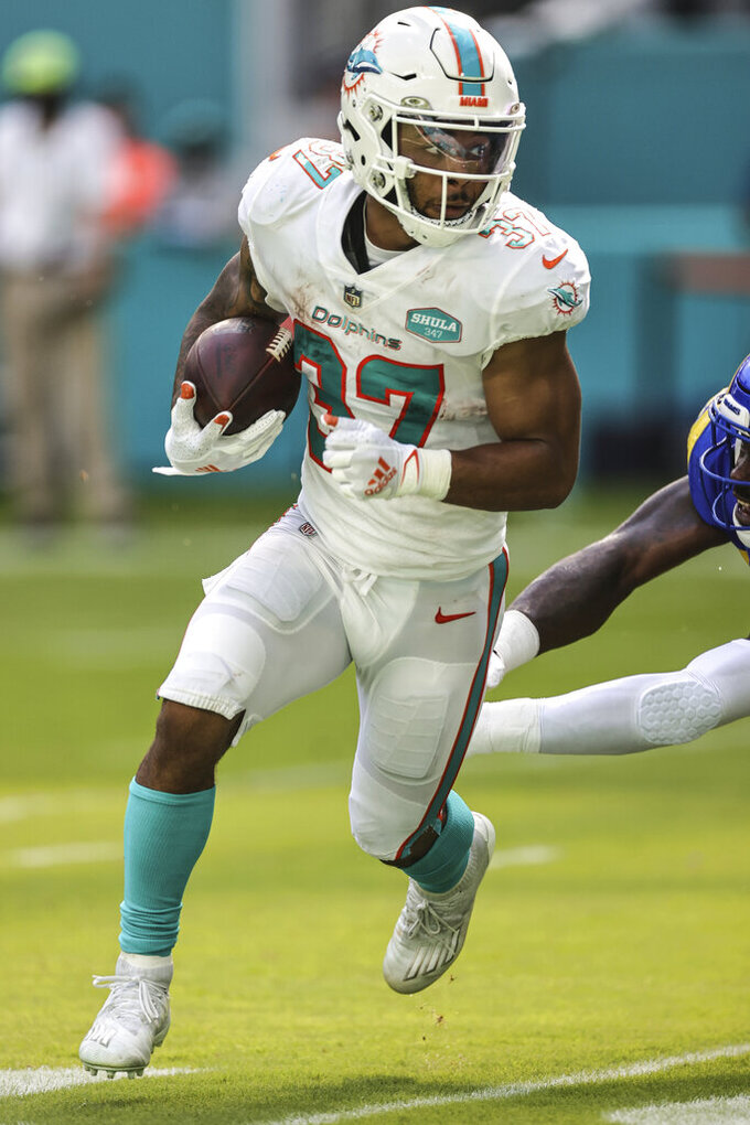 Miami Dolphins running back Myles Gaskin (37) carries the ball during an NFL game against the Los Angeles Rams, Sunday, Nov. 1, 2020 in Miami Gardens, Fla. The Dolphins defeated the Rams 28-17. (Margaret Bowles via AP)