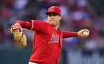 FILE - In this May 25, 2019, file photo, Los Angeles Angels starting pitcher Tyler Skaggs throws during the first inning of a baseball game against the Texas Rangers in Anaheim, Calif. The 27-year-old Los Angeles Angels pitcher was found unresponsive in his Texas hotel room after a drug overdose on July 1, 2019. He was 27. (AP Photo/Mark J. Terrill, File)
