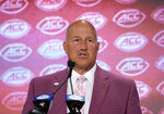 Boston College head coach Steve Addazio speaks during the Atlantic Coast Conference NCAA college football media day in Charlotte, N.C., Wednesday, July 17, 2019. (AP Photo/Chuck Burton)