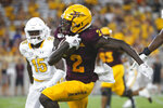 Arizona State wide receiver Brandon Aiyuk (2) runs with the ball after a reception against Kent State during the first half of an NCAA college football game Thursday, Aug. 29, 2019, in Tempe, Ariz. (AP Photo/Ralph Freso)
