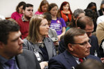 People listen during discussion on a bill concerning abortion on Monday, March 18, 2019, in Atlanta. A Georgia Senate committee approved a measure that would ban most abortions once a fetal heartbeat can be detected. Republicans in Georgia are joining others in many states moving to enact tough abortion restrictions, even though they're certain to be challenged in court, in hopes that recent appointments to the U.S. Supreme Court will find them constitutional. (Bob Andres/Atlanta Journal-Constitution via AP)