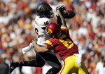 Arizona State safety Aashari Crosswell (16) breaks up a pass intended for Southern California wide receiver Michael Pittman Jr. (6) during the first half of an NCAA college football game Saturday, Oct. 27, 2018, in Los Angeles. (AP Photo/Marcio Jose Sanchez)