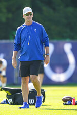 Indianapolis Colts head coach Frank Reich walks on the field before the start of practice at the NFL team's football training camp in Westfield, Ind., Monday, Aug. 2, 2021. Reich returned to practice following his quarantine period and two negative tests after a positive test for COVID-19. (AP Photo/Michael Conroy)