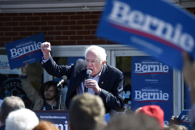 Democratic presidential candidate Bernie Sanders, I-Vt., speaks during a campaign rally in Aiken, SC., Friday, Feb. 28, 2020. (Michael Holahan/The Augusta Chronicle via AP)