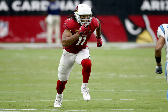 Arizona Cardinals wide receiver Larry Fitzgerald (11) runs a play against the Carolina Panthers during the second half of an NFL football game, Sunday, Sept. 22, 2019, in Glendale, Ariz. (AP Photo/Ross D. Franklin)