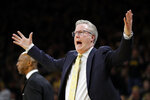 Iowa coach Fran McCaffery reacts to a call against his team during the first half of an NCAA college basketball game against Indiana, Friday, Feb. 22, 2019, in Iowa City, Iowa. (AP Photo/Charlie Neibergall)