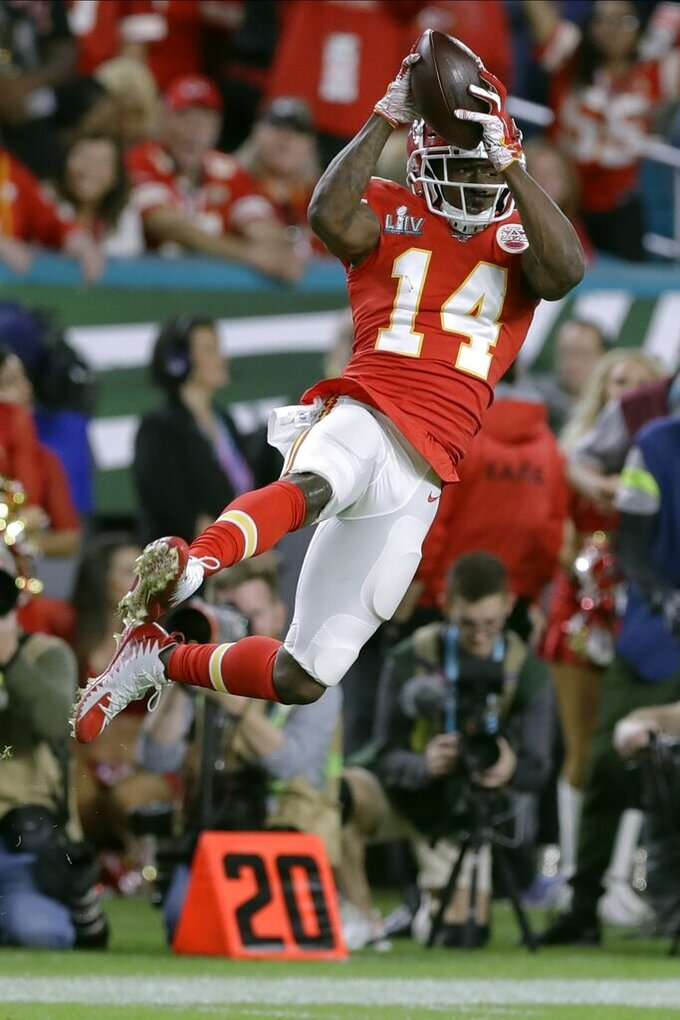 Kansas City Chiefs' Sammy Watkins catches a pass against the San Francisco 49ers during the first half of the NFL Super Bowl 54 football game Sunday, Feb. 2, 2020, in Miami Gardens, Fla. (AP Photo/Chris O'Meara)