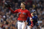 Boston Red Sox Enrique Hernandez, reacts after hitting a sacrifice fly ball to score Danny Santana to beat the Tampa Bay Rays in the ninth inning during Game 4 of a baseball American League Division Series, Monday, Oct. 11, 2021, in Boston. The Red Sox won 6-5. (AP Photo/Charles Krupa)