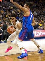 Marquette guard Markus Howard, left, is defended by DePaul guard Lyrik Shreiner during the first half of an NCAA college basketball game, Wednesday, Jan. 23, 2019, in Milwaukee. (AP Photo/Darren Hauck)