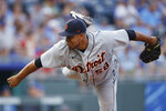 Detroit Tigers pitcher Wily Peralta throws against a Kansas City Royals batter during the first inning of a baseball game at Kauffman Stadium in Kansas City, Mo., Friday, July 23, 2021. (AP Photo/Colin E. Braley)