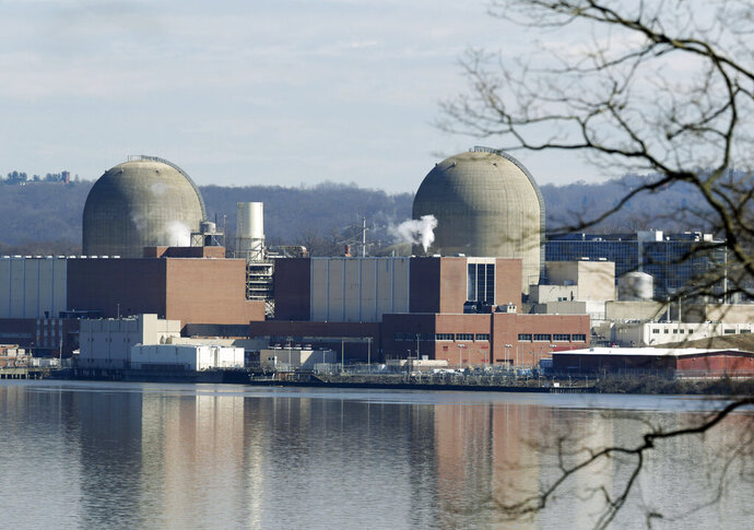 FILE - This Feb. 28, 2017, file photo shows Indian Point Energy Center in Buchanan, N.Y. A deal announced April 16, 2019, would close the two reactors at Indian Point within two years. (AP Photo/Seth Wenig, File)