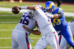 Los Angeles Rams' Aaron Donald (99) sacks Buffalo Bills' Josh Allen (17) during the second half of an NFL football game Sunday, Aug. 26, 2018, in Orchard Park, N.Y. (AP Photo/John Munson)