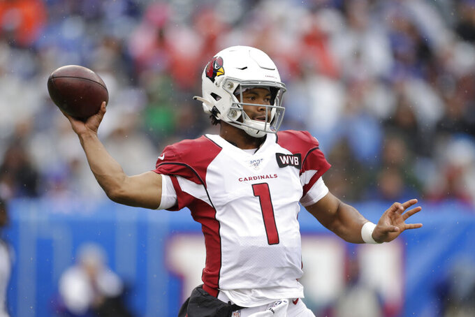 Arizona Cardinals quarterback Kyler Murray throws during the first half of an NFL football game against the New York Giants, Sunday, Oct. 20, 2019, in East Rutherford, N.J. (AP Photo/Adam Hunger)