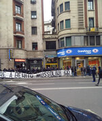 In this photo taken on April 24, 2019 a banner with writing reading in Italian