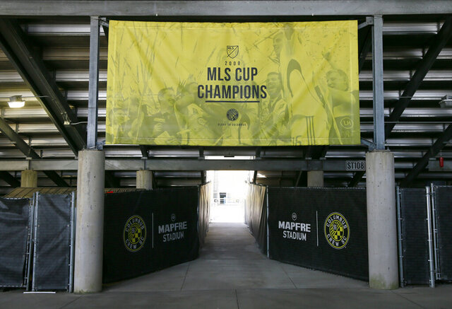Final preparations were underway at Mapfre Stadium in Columbus on Friday, Dec. 11, 2020, for Saturday's MLS Cup between the Seattle Sounder and Columbus Crew SC. (Barbara J. Perenic/The Columbus Dispatch via AP)