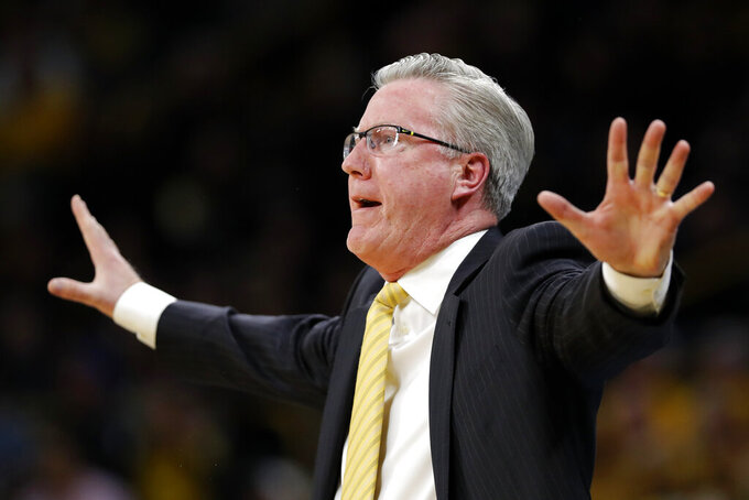 Iowa coach Fran McCaffery reacts to a call against his team during the first half of an NCAA college basketball game against Michigan, Friday, Feb. 1, 2019, in Iowa City, Iowa. (AP Photo/Charlie Neibergall)