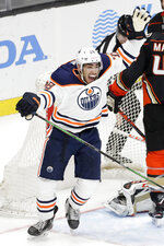Edmonton Oilers left wing Andreas Athanasiou celebrates after scoring during the third period of an NHL hockey game against the Anaheim Ducks in Anaheim, Calif., Tuesday, Feb. 25, 2020. The Ducks won 4-3. (AP Photo/Chris Carlson)