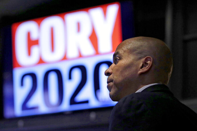 Democratic presidential candidate U.S. Sen. Cory Booker, D-N.J., addresses a gathering during a campaign stop in Boston, Monday, Oct. 21, 2019. (AP Photo/Charles Krupa)