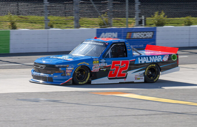 Stewart Friesen qualified on the pole for the NASCAR Gander Outdoors Truck Series race at Martinsville Speedway in Martinsville, Va. Saturday, March 23. (AP Photo/Matt Bell)
