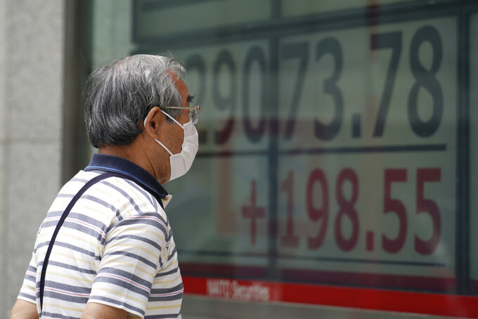 A man wearing a protective mask looks at an electronic stock board showing Japan's Nikkei 225 index at a securities firm Friday, June 25, 2021, in Tokyo. Asian shares are rising, buoyed by the rally on Wall Street that came after President Joe Biden announced a bipartisan deal on infrastructure spending. (AP Photo/Eugene Hoshiko)