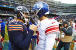 Chicago Bears quarterback Mitchell Trubisky (10) greets New York Giants quarterback Daniel Jones (8) following an NFL football game in Chicago, Sunday, Nov. 24, 2019. The Bears defeated the Giants 19-14. (AP Photo/Paul Sancya)