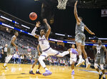 Kansas State guard Cartier Diarra (2) loses the ball in front of defending Mississippi State guard D.J. Stewart Jr. (3) during the first half of the Never Forget Tribute Classic NCAA college basketball game, Saturday, Dec. 14, 2019, in Newark, N.J. (AP Photo/Corey Sipkin)