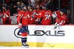 Washington Capitals right wing Tom Wilson (43) celebrates his goal during the first period of the team's NHL hockey game against the Vegas Golden Knights, Saturday, Nov. 9, 2019, in Washington. (AP Photo/Nick Wass)