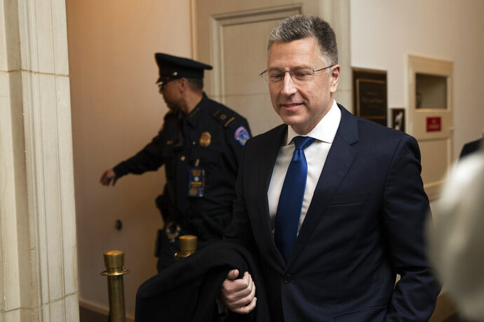 Ambassador Kurt Volker, former special envoy to Ukraine, arrives to testify before the House Intelligence Committee on Capitol Hill in Washington, Tuesday, Nov. 19, 2019, during a public impeachment hearing of President Donald Trump's efforts to tie U.S. aid for Ukraine to investigations of his political opponents. (AP Photo/Manuel Balce Ceneta) Tuesday, Nov. 19, 2019. (AP Photo/Manuel Balce Ceneta)