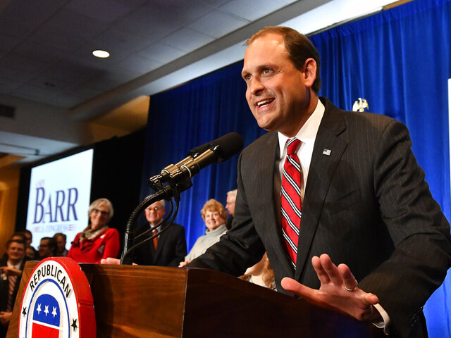 FILE - In this Tuesday, Nov. 6, 2018, file photo, Rep. Andy Barr, R-Ky., speaks to supporters at his victory celebration in Lexington, Ky.  Kentucky's 6th District has lived up to its reputation as a political battleground with the current slugfest between  Barr and Democratic challenger Josh Hicks.(AP Photo/Timothy D. Easley, File)