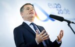 The President of the Eurogroup, Paschal Donohoe, speaks during the Informal Meeting of Economics and Finance Ministers in Berlin, Germany, Friday, Sept. 11, 2020. (Kay Nietfeld/DPA via AP, Pool)