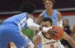 Virginia Tech defender Wabissa Bede guards North Carolina guard Rechon Black (3) during the second half of an NCAA college basketball game in Blacksburg, Va., Wednesday, Jan. 22, 2020.(AP Photo/Lee Luther Jr.)