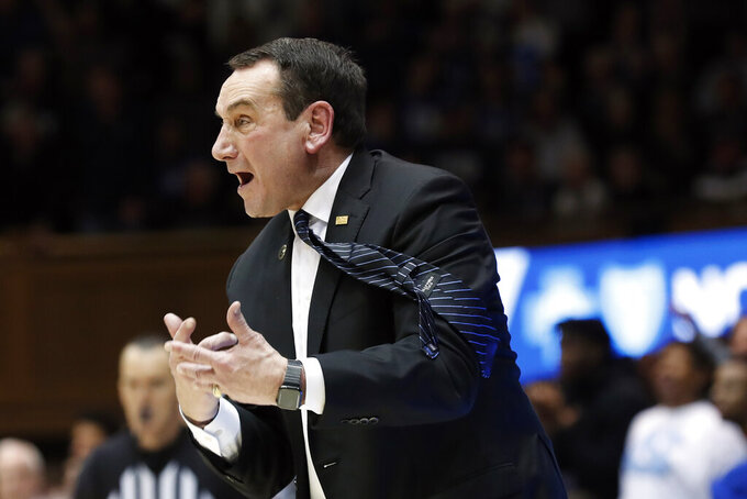 Duke head coach Mike Krzyzewski reacts during the second half of an NCAA college basketball game against North Carolina in Durham, N.C., Saturday, March 7, 2020. (AP Photo/Gerry Broome)