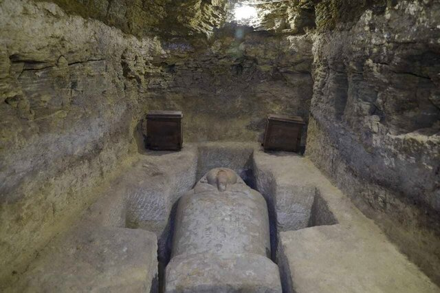 This photo provided by Egypt's antiquities ministry , shows one of sarcophagi discovered in the village of Tuna al-Gabal, near the Nile Valley city of Minya.  Archeologists on Thursday, Jan. 30, 2020,  unveiled 16 ancient Egyptian tombs filled with sarcophagi and other artifacts from a vast burial ground. Egypt's antiquities ministry announced the discoveries in the village in central Egypt. The site boasts an array of previously excavated finds, including funerary buildings and catacombs filled with thousands of mummified ibis and baboon birds.(Egypt's antiquities ministry via AP)