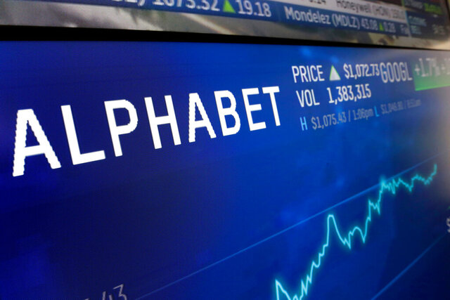 FILE- In this Feb. 14, 2018, file photo the logo for Alphabet appears on a screen at the Nasdaq MarketSite in New York.  Google parent Alphabet report their latest results Tuesday, April 28, 2020 after the closing bell. (AP Photo/Richard Drew, File)