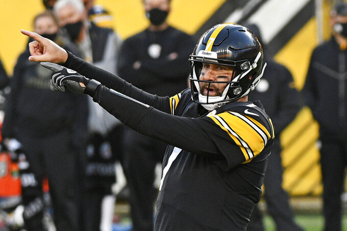 Pittsburgh Steelers quarterback Ben Roethlisberger (7) calls signals during the first half of an NFL football game against the Cincinnati Bengals in Pittsburgh, Sunday, Nov. 15, 2020. (AP Photo/Don Wright)