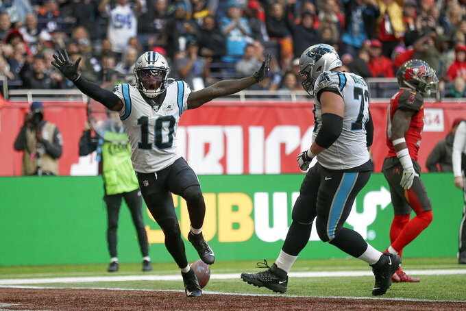 Carolina Panthers wide receiver Curtis Samuel (10) reacts after scoring a touchdown against the Tampa Bay Buccaneers during the third quarter of an NFL football game, Sunday, Oct. 13, 2019, at Tottenham Hotspur Stadium in London. (AP Photo/Tim Ireland)