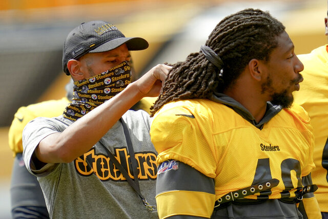 Pittsburgh Steelers linebacker Bud Dupree (48) has equipment checked before an NFL football training camp practice, Monday, Aug. 24, 2020, in Pittsburgh. (AP Photo/Keith Srakocic)