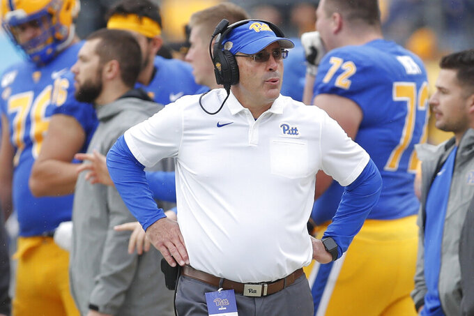 Pittsburgh head coach Pat Narduzzi paces the sideline as his team plays against Miami During the first half of an NCAA college football game, Saturday, Oct. 26, 2019, in Pittsburgh. Miami won 16-12.(AP Photo/Keith Srakocic)