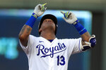 Kansas City Royals Salvador Perez gestures while celebrating his RBI double during the third inning of a baseball game against the Chicago Cubs at Kauffman Stadium in Kansas City, Mo., Thursday, Aug. 6, 2020. (AP Photo/Orlin Wagner)