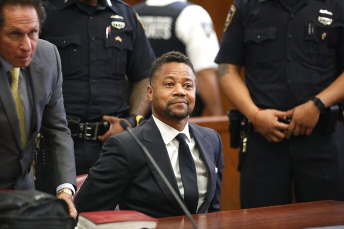 Cuba Gooding Jr. appears in court to face new sexual misconduct charges, Tuesday, Oct. 15, 2019, in New York. The new charges involve an alleged incident in October 2018. Gooding Jr. pleaded not guilty. The defense paints it as a shakedown attempt. (Alec Tabak/New York Daily News Pool via AP)
