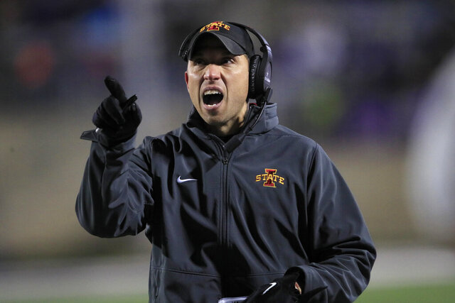 Iowa State head coach Matt Campbell calls a timeout during the first half of an NCAA college football game against Kansas State in Manhattan, Kan., Saturday, Nov. 30, 2019. (AP Photo/Orlin Wagner)