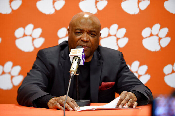 Florida State head coach Leonard Hamilton speaks to the media after an NCAA college basketball game against Clemson Saturday, Feb. 29, 2020, in Clemson, S.C. Clemson won 70-69. (AP Photo/Richard Shiro)