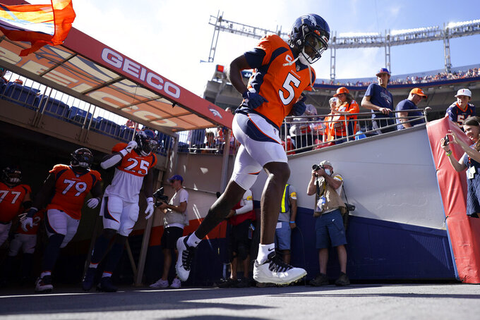 Denver Broncos quarterback Teddy Bridgewater (5) takes the field prior to an NFL football game against the New York Jets, Sunday, Sept. 26, 2021, in Denver. (AP Photo/Jack Dempsey)